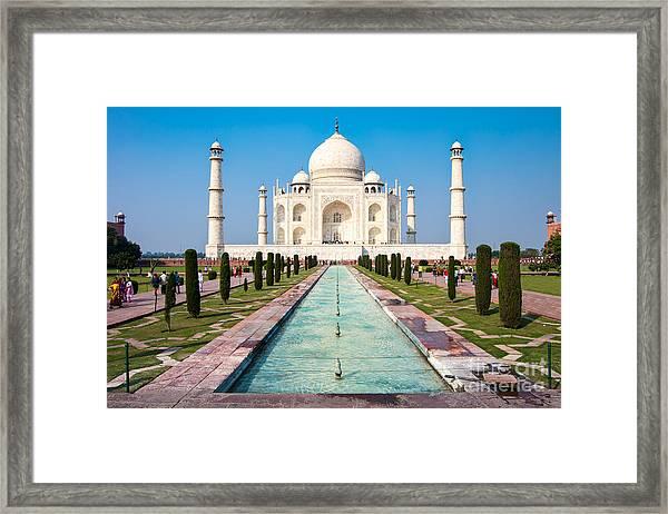 Famous Taj Mahal Mausoleum In In Bright Framed Print by Mikhail Varentsov