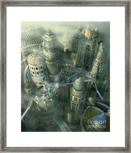 Fantasy 3d City Form Past To Future Framed Print