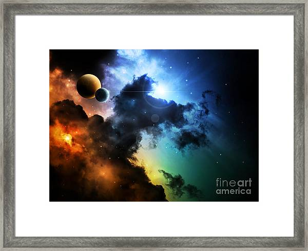 Fantasy Deep Space Nebula With Planet Framed Print