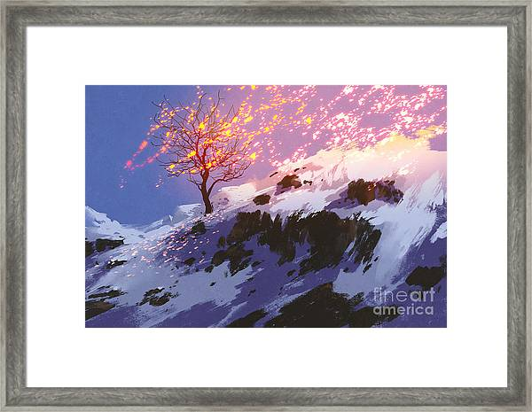 Fantasy Landscape Showing Bare Tree In Framed Print