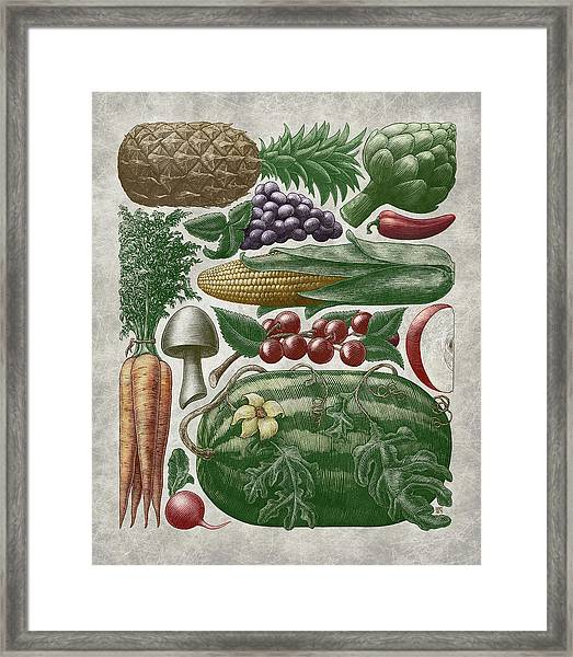 Framed Print featuring the drawing Farmer's Market - Color by Clint Hansen