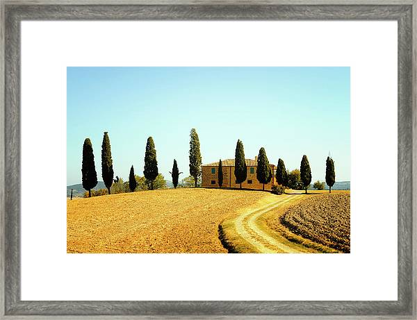Farmhouse And Cypress Trees Framed Print