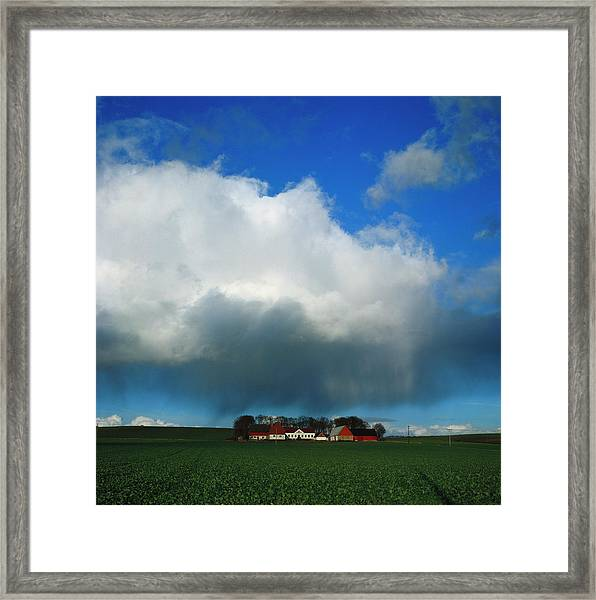 Farmhouses In A Field. Sweden Framed Print