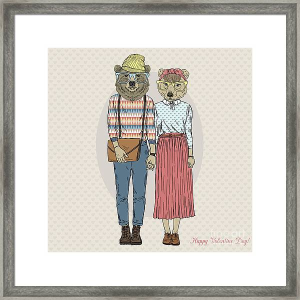 Fashion Cute Hipster Couple Of Bears Framed Print