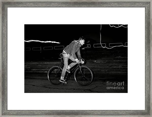 Fashion Man On The Fixed Gear Bike Framed Print by Hrynevich Yury