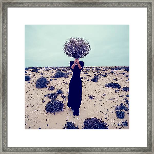 Fashion Photo. Girl In The Desert With Framed Print