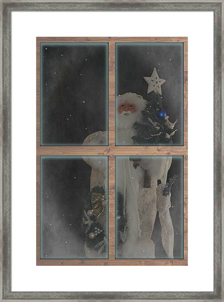 Father Christmas In Window Framed Print