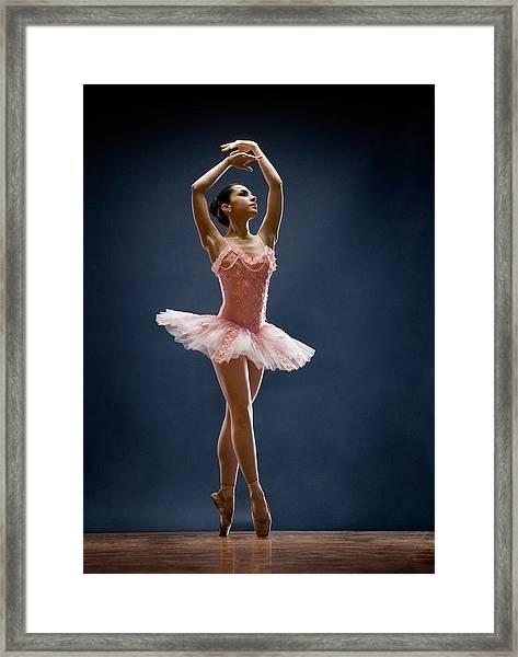 Female Ballet Dancer Dancing Framed Print by David Sacks