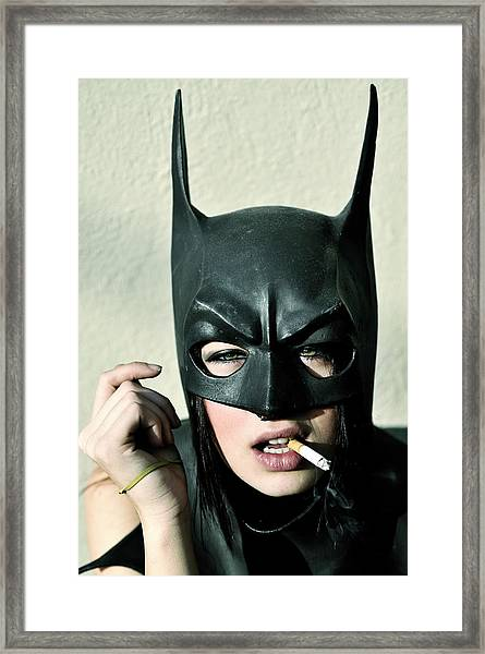 Female Model Smoking With Batman Mask Framed Print by Stephen Albanese