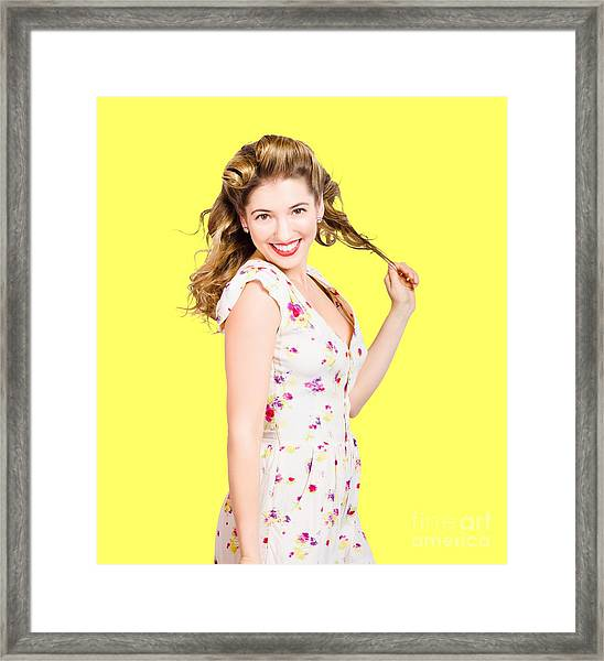 Female Model With Perfect Skin And Curly Hairstyle Framed Print