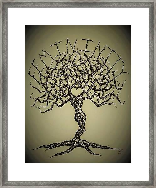 Framed Print featuring the drawing Femininity Love Tree B/w by Aaron Bombalicki