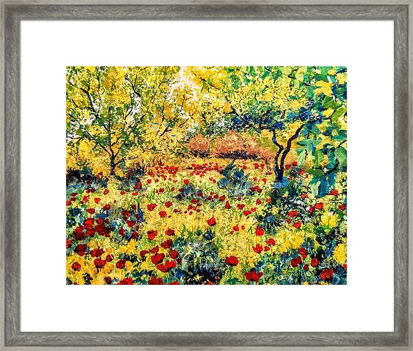 Framed Print featuring the painting Field Of Poppies by Ray Khalife