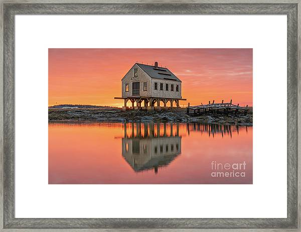Fiery Skies At Cape Porpoise Framed Print