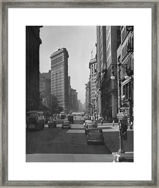 Fifth Ave. And The Flatiron Bldg Framed Print