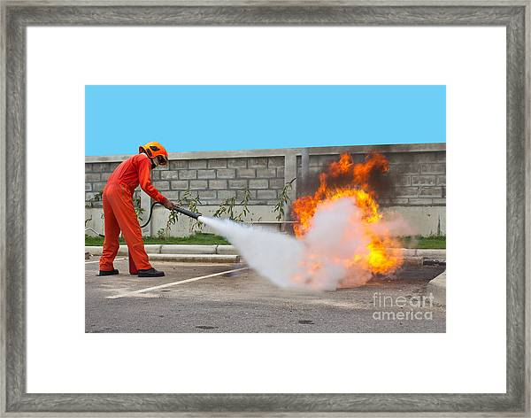 Fighting Fire During Training Framed Print