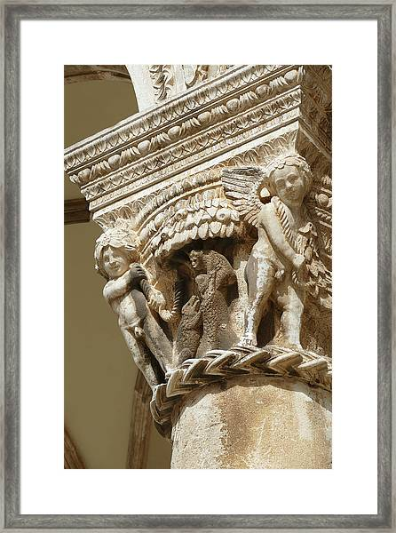 Figures On Capitals Of The Rector's Palace Framed Print