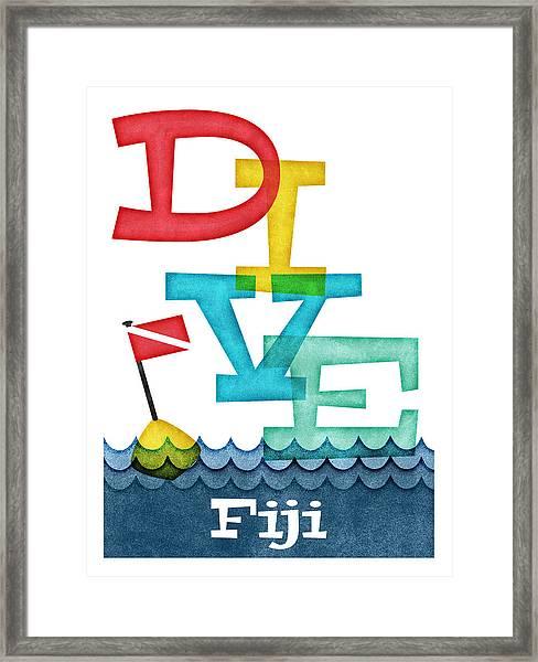 Fiji Dive - Colorful Scuba Framed Print