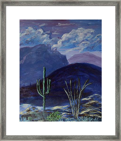 Framed Print featuring the painting Finger Rock Evening, Tucson by Chance Kafka