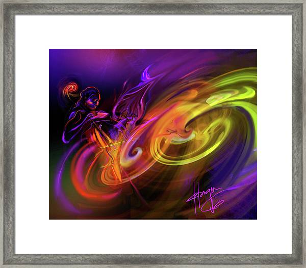 Cellist In Space Framed Print