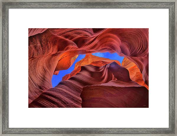 Fire Beneath The Sky In Antelope Canyon Framed Print