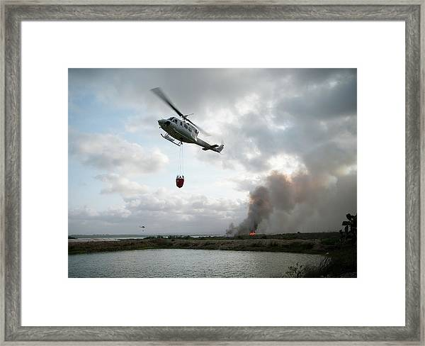 Fire Fighting Helicopter Approaches Framed Print