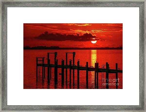 Framed Print featuring the photograph Fireball And Pier Sunrise by Tom Claud