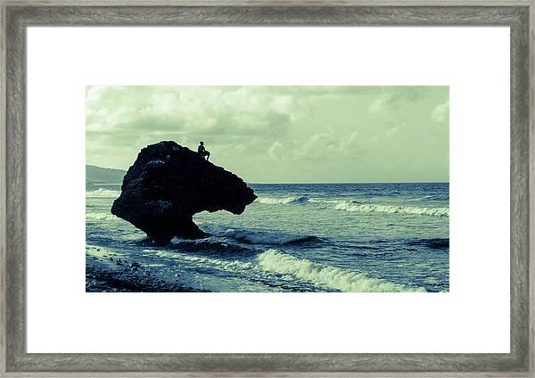 Fisher On Rock - Bathsheba Barbados Framed Print