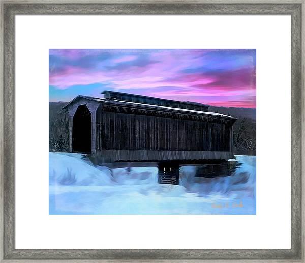 Fisher Raiilroad Covered Bridge Wolcott Vermont. Framed Print