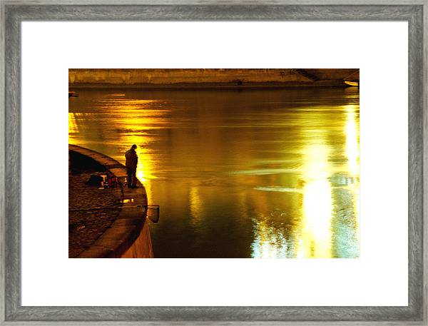 Fisherman At The Danube Canal Framed Print