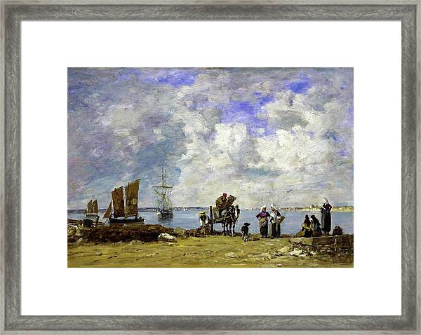 Fishermens Wives At The Seaside - Digital Remastered Edition Framed Print