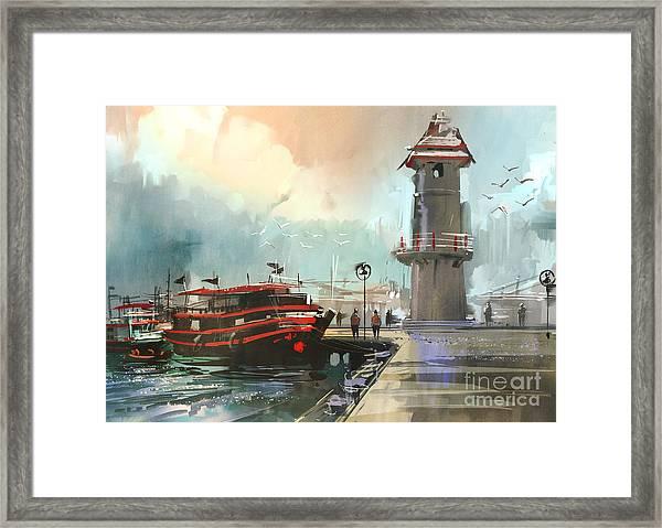 Fishing Boat In Harbor,digital Framed Print