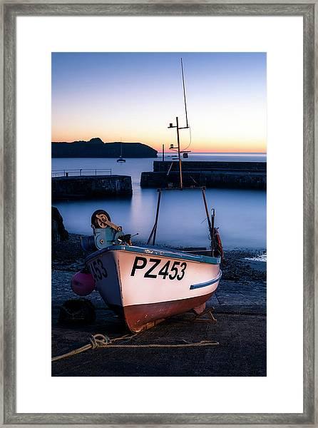 Fishing Boat In Mullion Cove Framed Print