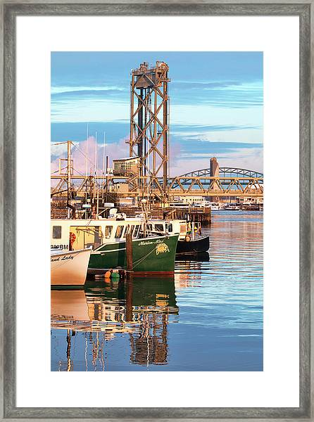 Fishing Boats And Bridges Framed Print by Eric Gendron