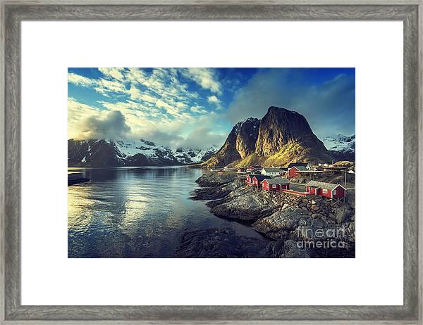 Fishing Hut At Spring Sunset - Reine Framed Print