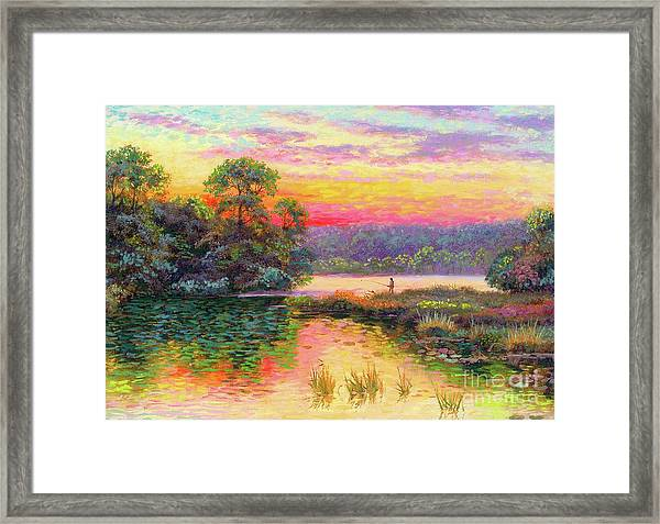 Fishing In Evening Glow Framed Print