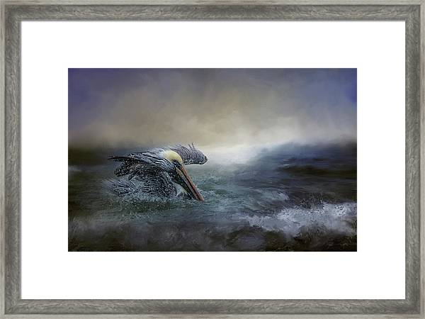 Fishing In The Storm Framed Print