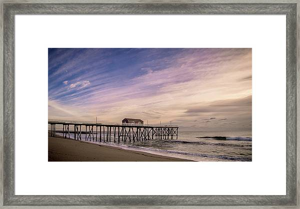 Framed Print featuring the photograph Fishing Pier Sunrise by Steve Stanger