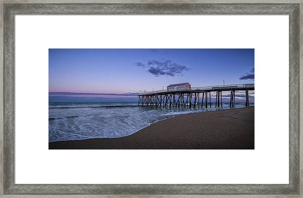 Framed Print featuring the photograph Fishing Pier Sunset by Steve Stanger