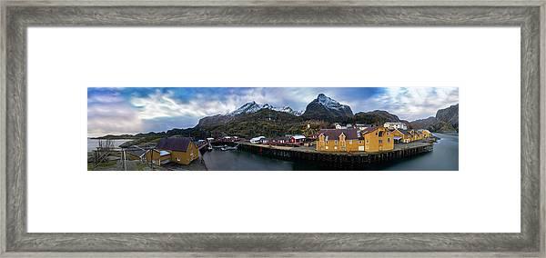 Fishing Village A On Lofoten Framed Print