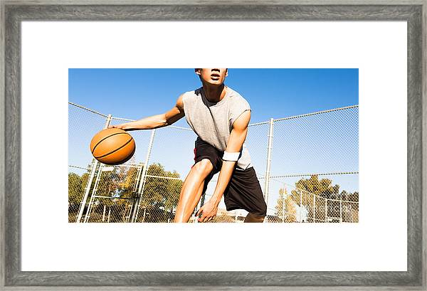 Fit Male Playing Basketball Outdoor Framed Print