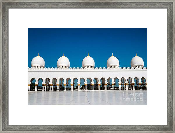 Five Domes Of Sheikh Zayed Mosque In Framed Print