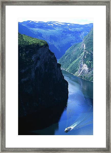 Fjord Ferry And Seven Sisters Framed Print