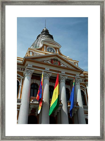 Flags On National Congress Of Bolivia Framed Print