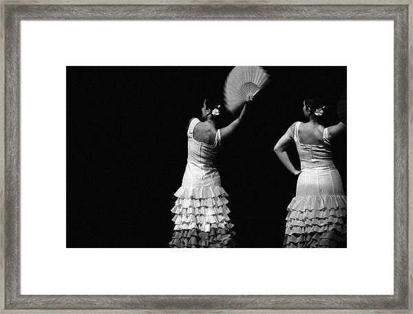 Flamenco Lace Fan Framed Print by T-immagini