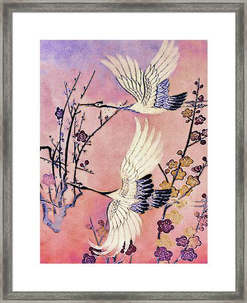 Flight Of The Cranes - Kimono Series Framed Print