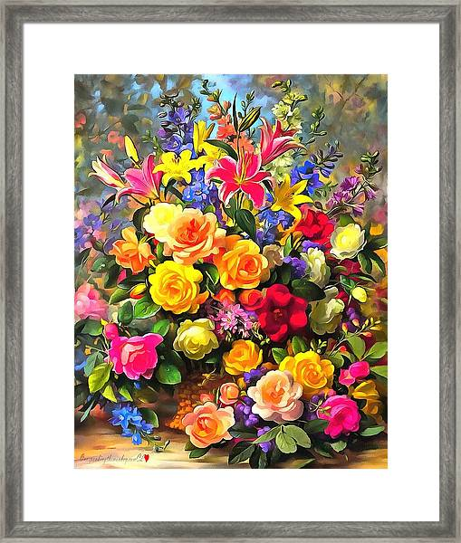 Floral Bouquet In Acrylic Framed Print