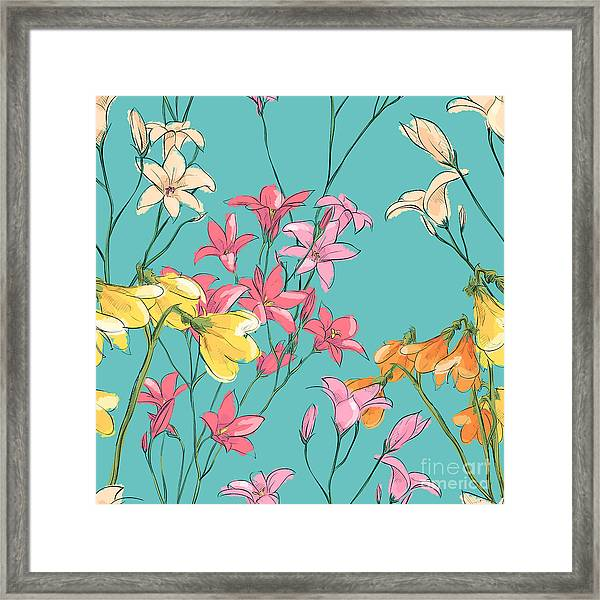 Floral Seamless Pattern. Sketch Style Framed Print