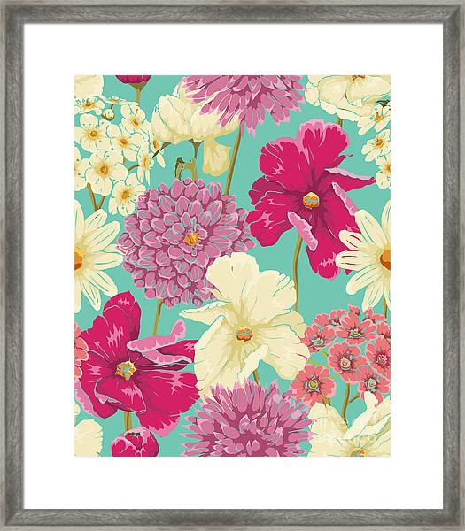Floral Seamless Pattern With Flowers In Framed Print