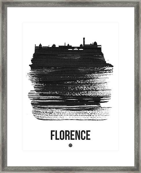 Florence Skyline Brush Stroke Black Framed Print
