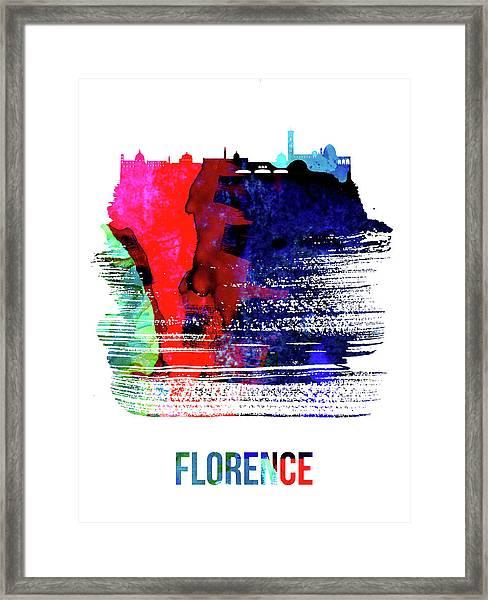 Florence Skyline Brush Stroke Watercolor   Framed Print